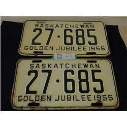 Pair of 1955 Saskatchewan License Plates