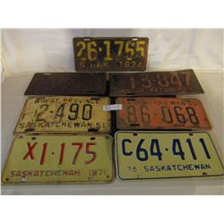 7 Assorted Saskatchewan License Plates