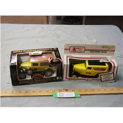 "2X THE MONEY - 1932 Ford Bank and 1931 Ford Model A Bank 6"" L"