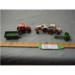 5 Toy Tractors and Wagon