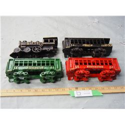 Cast Iron Train and 3 Carts