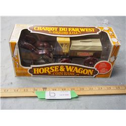 "Horse and Wagon Coin Bank 8.5"" Long"
