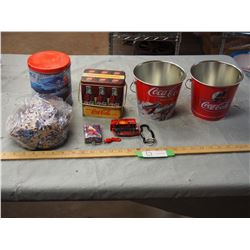 Coca-Cola Items, Puzzle, Cars, 2 Ice Buckets and Cards