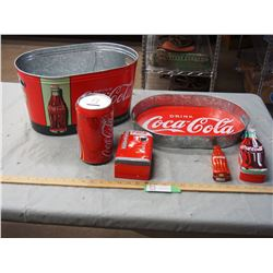 Coca-Cola Items, Tray, Fridge Coin Bank, Tub, and Tins