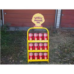 "Shell Motor Oil Display Rack with 12 Full Shell Oil Cans 47"" by 20"""
