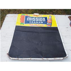 Mission Orange Sign Tin Chalk Board 19 by 27.5""
