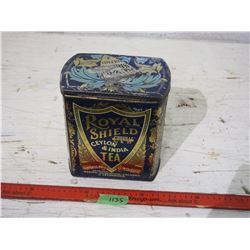 "Royal Shield Tea Tin 8"" Tall"