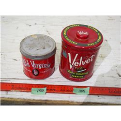 2 Tobacco Tins, Old Virginia, One Velvet