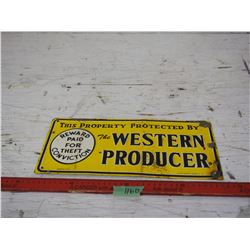 1967 Western Producer Tin 14 by 6.75""