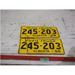 Pair of Alberta Farm Truck Plates