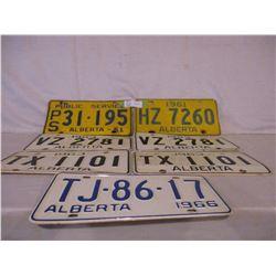 7 Alberta 1960s License Plates