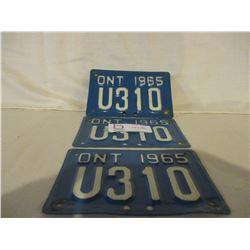 3 Ontario 1965 Trailer Plates
