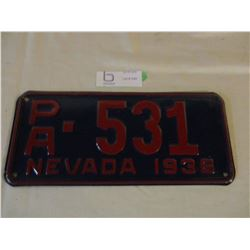Nevada 1936 License Plate