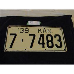 1939 Kansas License Plate