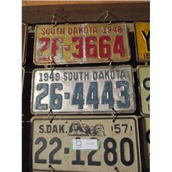 17 South Dakota Assorted License Plates 1940s-1980s (Some Pairs)