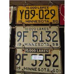 10 Assorted Minnesota License Plates 1950s-1980s