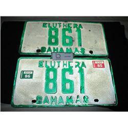 1985 Bahamas Pair of License Plates