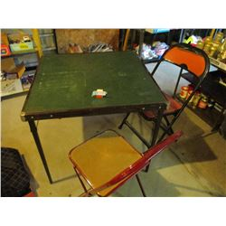 Square Card Table and 2 Folding Chairs