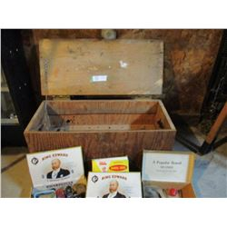 Wooden Box of Misc Old Auto Parts and Tools