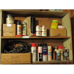 """Wooden Display Unit with Automotive Parts, Paints and etc. 8.5"""" by 37"""" by 28"""" T"""