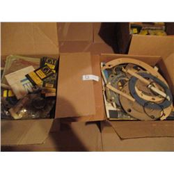 Boxes of Old Vintage GM Parts and 2 Boxes of GM Gaskets