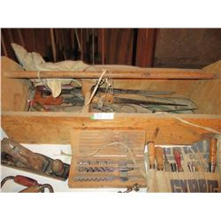 Wooden Carpentry Box with Carpentry Tools