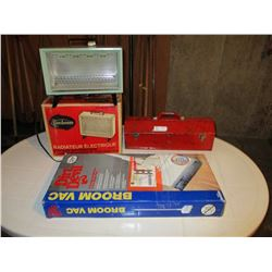 Sunbeam Electric Heater and Metal Tool Box with Dirt Devil Broom Vac