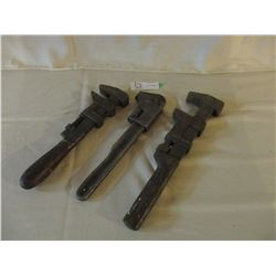3 Old Pipe Wrenches
