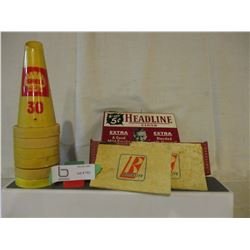 6 Shell Oil Bottle Plastic Spouts and Royalite Oil Brittle Pad