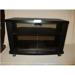 """TV Stand on Casters 14 by 27 by 18"""" with Glass Doors"""