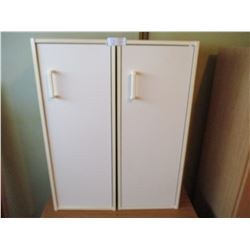 """2 White Storage Cabinets Each 12 by 12 by 31"""" T"""