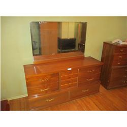 """Wooden Dresser with Mirror 18 by 58 by 61"""" T"""