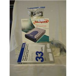 Box of Binders, Assorted Office Supplies with Indoor Antenna and Small Portable Radio