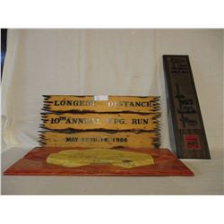 Wooden Winnipeg Car Show Distance Travel Award Plaques and 1978 Car Show Award