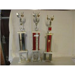 "3 1975 and 1977 Dragging Car Show Trophies 32"" T"