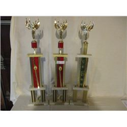"3 1978 and 1979 Dragging Car Show Trophies 32"" T"