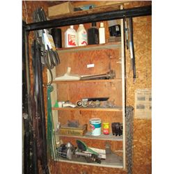 "Assortment of Auto Parts, Fan Bels, Wooden Shelf (6 by 28 by 55"") and etc."