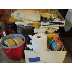 Assorted Auto Cleaning Supplies, Wash Buckets and Cleaning Rags