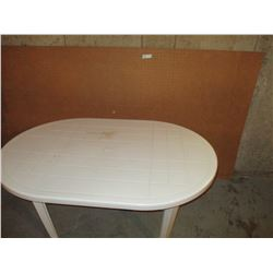 "White Plastic Table and 8 by 4"" Peg Board"