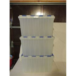 3 Blue Heavy Duty Plastic Containers with Lids