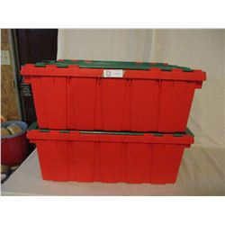 2 Heavy Duty Plastic Containers with Lids Red and Green