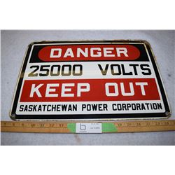 18.5 by 12.5 Sask Power Porcelain Sign 1950-1960s