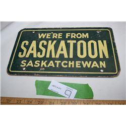 Saskatoon Wooden License Plate