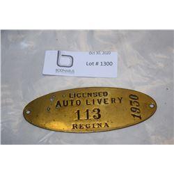 Rare Regina Brass License Plate