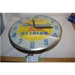 "16"" Silverwood Ice Cream Clock Working & Lights Up"