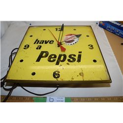 Vintage Antique Pepsi Clock Canadian Neon Ray (Working & Lights Up)