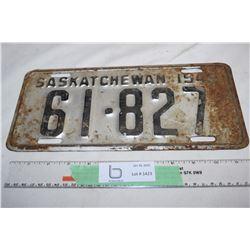 1948 Sask License Plate