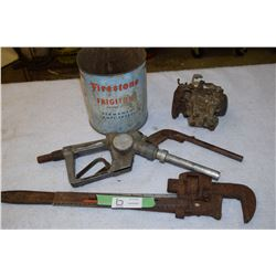 Firestone Tin, Huskey Nozzle, Tools and misc.
