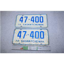 1976 Sask Set of License Plates