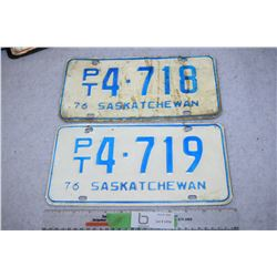 1976 Commercial Set of Sask License Plates